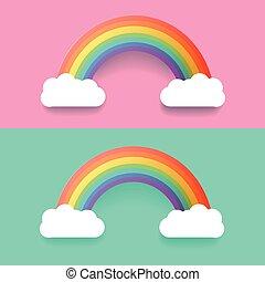 szivárvány, állhatatos, színes, ábra, clouds., vektor