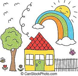szivárvány, épület, heccel, rajz