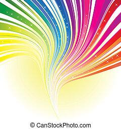 szivárvány, csillaggal díszít, szín, elvont, vonal, háttér
