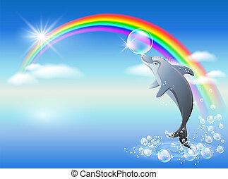 szivárvány, delfin