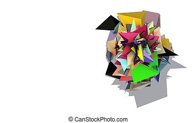 szivárvány, elvont, 3, elektromos, színezett, hegyes, alakít