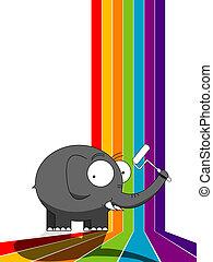 szivárvány, festmény, elefánt