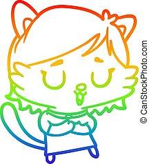 szivárvány, gradiens, egyenes, macska, leány, rajz