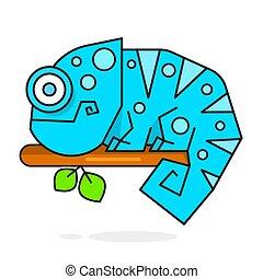 szivárvány, kaméleon elpirul, betű, ábra, gyík, karikatúra