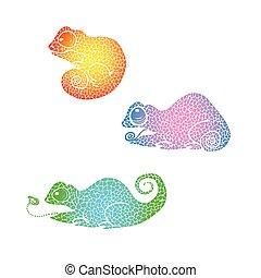 szivárvány, kaméleon, gradiens, szórakozottan firkálgat, chameleon., kéz, húzott