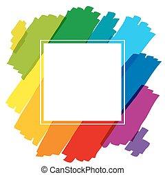 szivárvány, keret, derékszögben, színezett