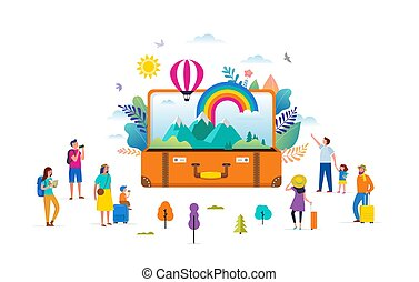 szivárvány, lakás, emberek, modern, színhely, ábra, utazás, kisméretű, vektor, kaland, bőrönd, zöld, nyílik, style., idegenforgalom