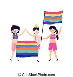 szivárvány, nők, zászlók, közösség, férfiak, dísz, büszkeség, lgbt, boldog, csoport