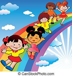 szivárvány, slide., gyerekek
