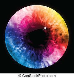 szivárvány, szem elpirul, macro., vektor, szembogár