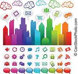 szivárvány, társadalmi, város, média