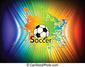 szivárvány, vektor, háttér, tinta, futball, ball.