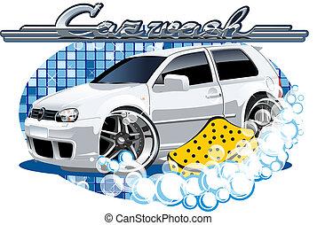 szivacs, autó, mosás, aláír