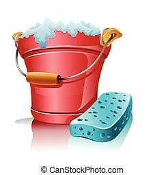 szivacs, hab, vödör, fürdőkád