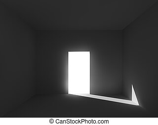 szoba, árnyék, fény