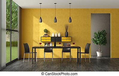 szoba, étkező, sárga, fekete, minimalista