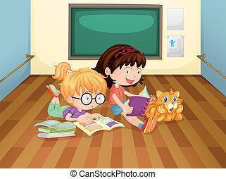 szoba, belső, lány, két, előjegyez, felolvasás