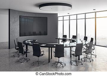 szoba, beton, gyűlés, belső