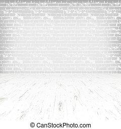 szoba, emelet, wooden közfal, white tégla, üres