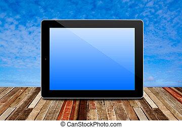 szoba, struktúra, belső, kilátás, számítógép, gyönyörű, ég, fa padló, tabletta, háttér.