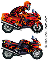szobafestő, gyorsaság, motorkerékpár, személy, égető