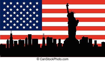 szobor, amerikai, szabadság