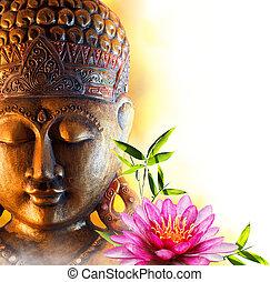 szobor, buddha, víz, zen, liliom