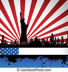 szobor, háttérfüggöny, lobogó, amerikai, szabadság