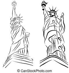 szobor, szabadság, csekkszámlák