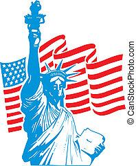 szobor, szabadság, usa lobogó