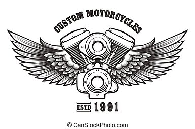 szokás, műhely, motorkerékpár, embléma