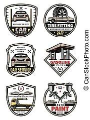 szolgáltatás, ikonok, autó, vektor, retro, autó