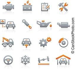 szolgáltatás, ikonok, sorozat, -, grafit, autó