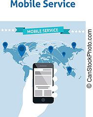 szolgáltatás, mobile telefon, globális, gondolat, kreatív, tervezés