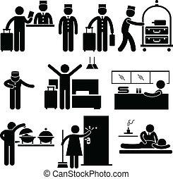 szolgáltatás, munkás, hotel