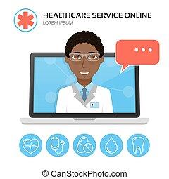 szolgáltatás, orvosi, konzultáció, healthcare, online., concept.