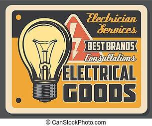 szolgáltatás, poszter, villanyszerelő, gumó, fény