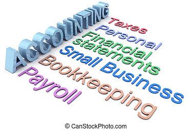 szolgáltatás, számvitel, adót kiszab, bérlista, szavak