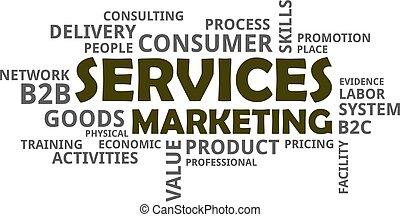 szolgáltatás, szó, -, felhő, marketing