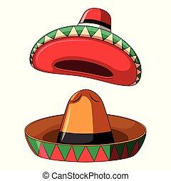 szombréró, fehér, mexikói, háttér