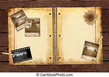 szomorú, fénykép, utazás, folyóirat
