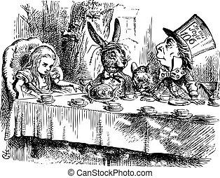 szoros, tea, alice, hatter?s, őrült, szüret, tündérország, eredeti, fél
