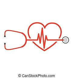 sztetoszkóp, vektor, aláír, szívdobbanás, ábra, heart.