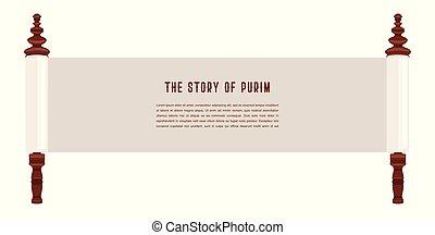 sztori, zsidó, purim., ábra, acient, sablon, scroll., transzparens