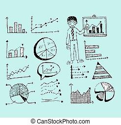 táblázatok, kéz, szórakozottan firkálgat, rajzol