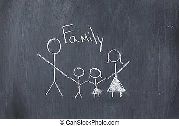 tábla, család, rajz
