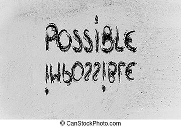 tábla, felelősségre von, lehetséges, vs., fogalom, lehetetlen