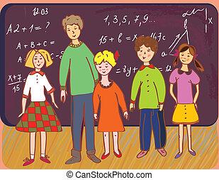 tábla, iskolások, tanár