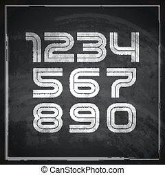 tábla, kréta, betűtípus, sketched, állhatatos, vektor, művészi, háttér., betűk