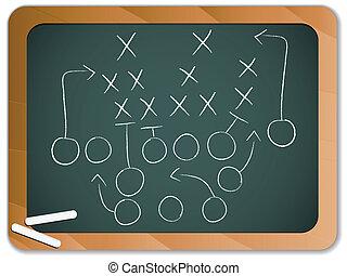 tábla, labdarúgás, stratégia, játék, csapatmunka, terv